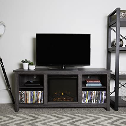 new 58 inch wide charcoal colored television stand with fireplace insert - Colored Tv Stands