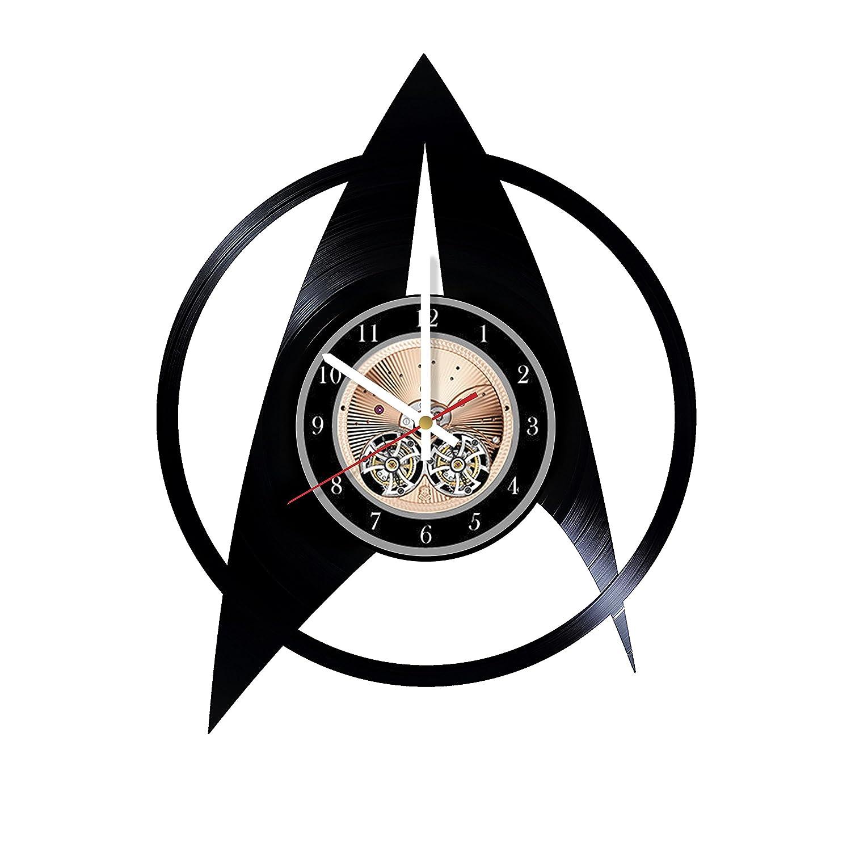 Star Trek Starfleet Emblem HANDMADE Vinyl Record Wall Clock Gift ideas for him and her Get unique bedroom or living room wall decor