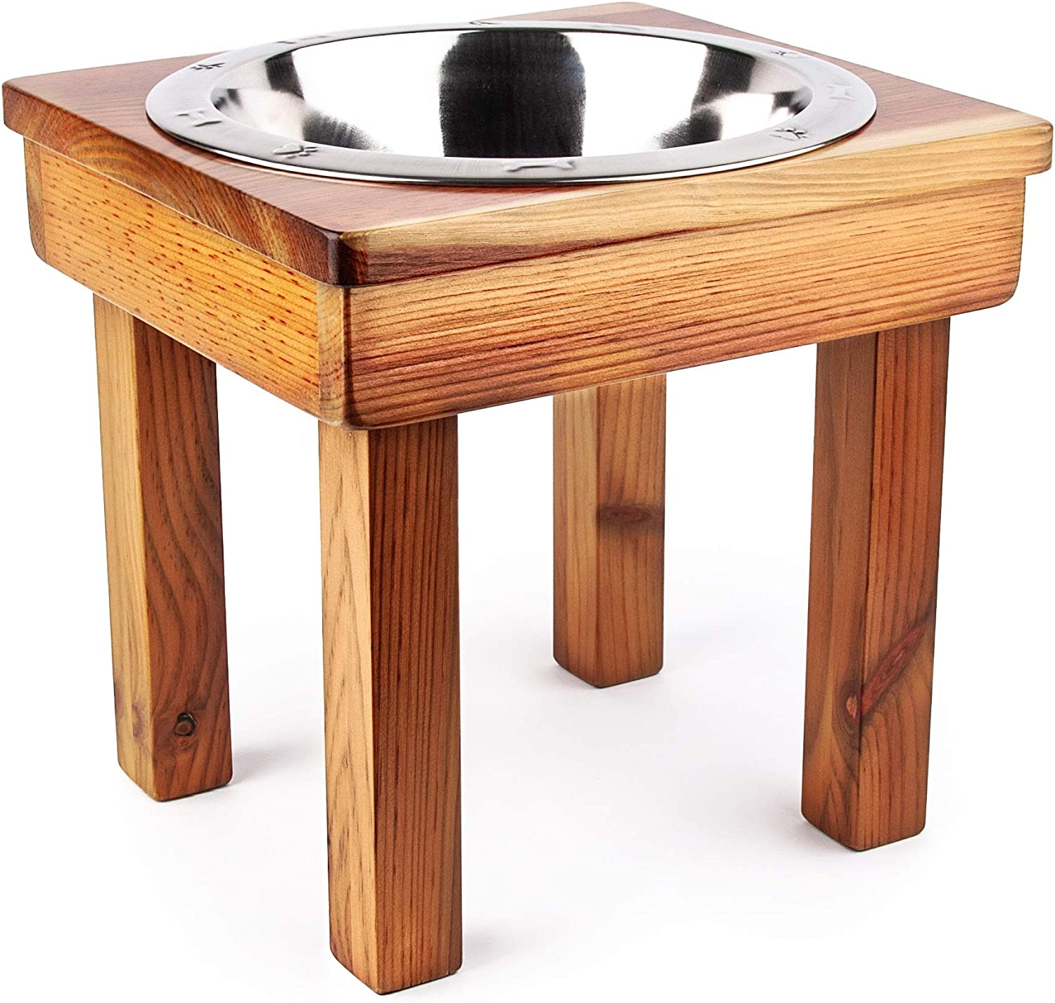 OFTO Raised Single Bowl for Dogs Cats, one Stainless-Steel Bowl, 12