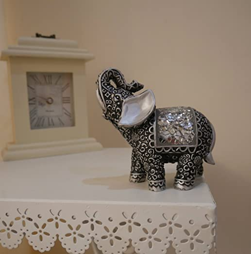 Garden MileR Pair Of Shabby Chic Silver Black Buddha Indian Elephants With Sparkling Mirrored