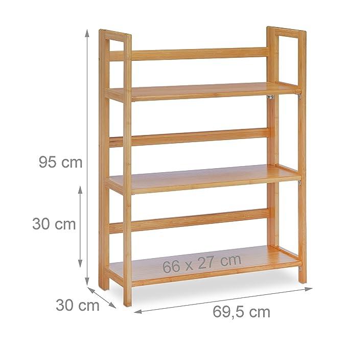 Klappregal Holz Bambus Standregal Bambusregal groß klappbar Regal zum Klappen