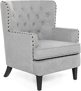 Best Choice Products Polyester Tufted Modern Wingback Accent Chair Furniture for Home, Living Room, Office w/Nailhead Trim, Espresso-Finished Wood Legs, Gray