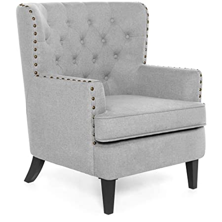 Best Choice Products Modern Tufted Wingback Accent Chair Living Room Furniture Decoration For Home, Office W/Nailhead Trim, Espresso Finished Wood Legs   Gray by Best Choice Products