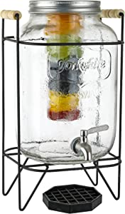 2 Gallon Glass Beverage Dispenser with Ice and Fruit Infusers, Metal Wire Stand with Wooden Handles, Drip Tray and Stainless Steel Spigot- Mason Drink Dispenser for Iced Tea, Kombucha, Infused Water