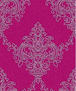 Damask Wallpaper Luxury Heavyweight Vintage Silver Gliter Pink Ravelle Arthouse