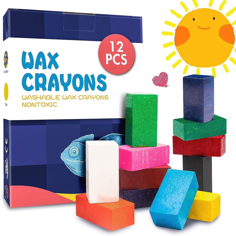MUSCCCM Crayones para Niños, 12 Colores Crayones en Bloque Lavables No Tóxicos para Pintar Dibujo Juguetes Regalo para Bebé Niños y Estudiantes