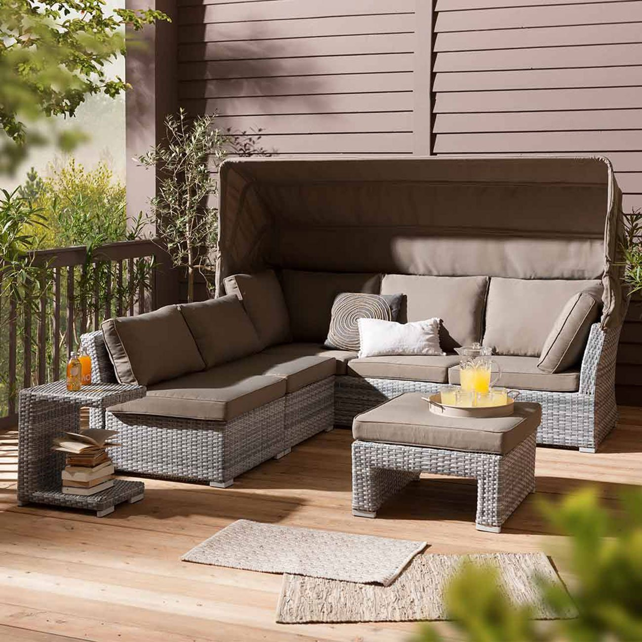 gartenlounge polyrattan outliv ottawa loungeset 5 teilig flachgeflecht graubeige kissen braun. Black Bedroom Furniture Sets. Home Design Ideas