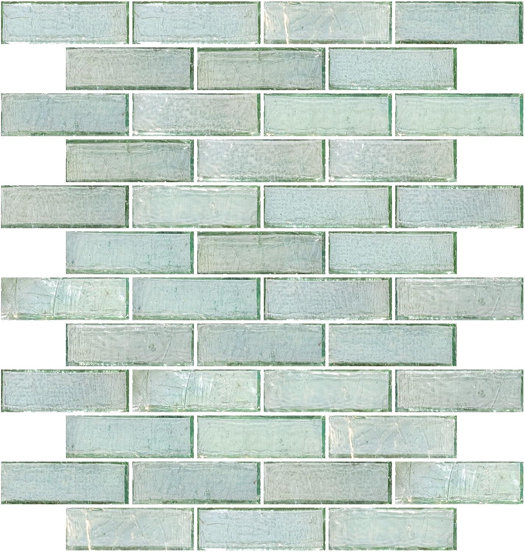 - Susan Jablon Mosaics - 1x3 Inch Green Iridescent Glass Subway Tile