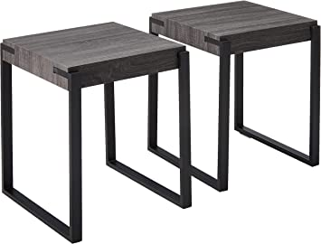 Amazon Com Christopher Knight Home Bates End Tables Modern Contemporary Faux Wood Top Metal Legs Oak And Matte Black Set Of 2 Furniture Decor