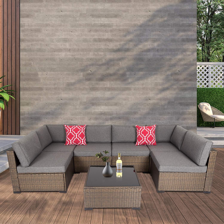 Kinbor Outdoor Furniture Set, 7 Piece Sectional Patio Furniture, PE Rattan Coversation Sofa Set for Garden Patio Outdoor Deck