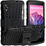 DMG Firm Grip Hybrid Rubberized Hard Back Cover Stand Case for LG Google Nexus 5 + Bonus DMG Wristband,Black