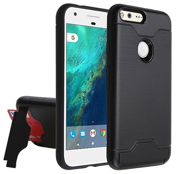 d3e212c7e773 Google Pixel Wallet Case,[Hidden Card Slot Kickstand] Dual Layer Shock  Absorption Protective Case [Credit Card Slot] Heavy Duty Bumper Case for  Google ...