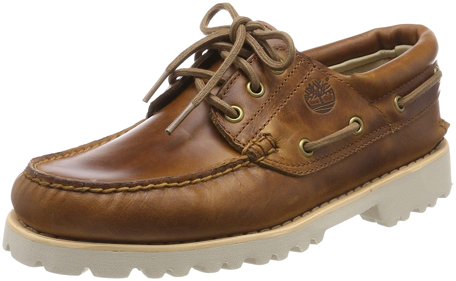 9fb501b66ed Timberland Men's Chilmark 3 Eye Hands Leather Boat Shoes, Brown, 7.5 ...