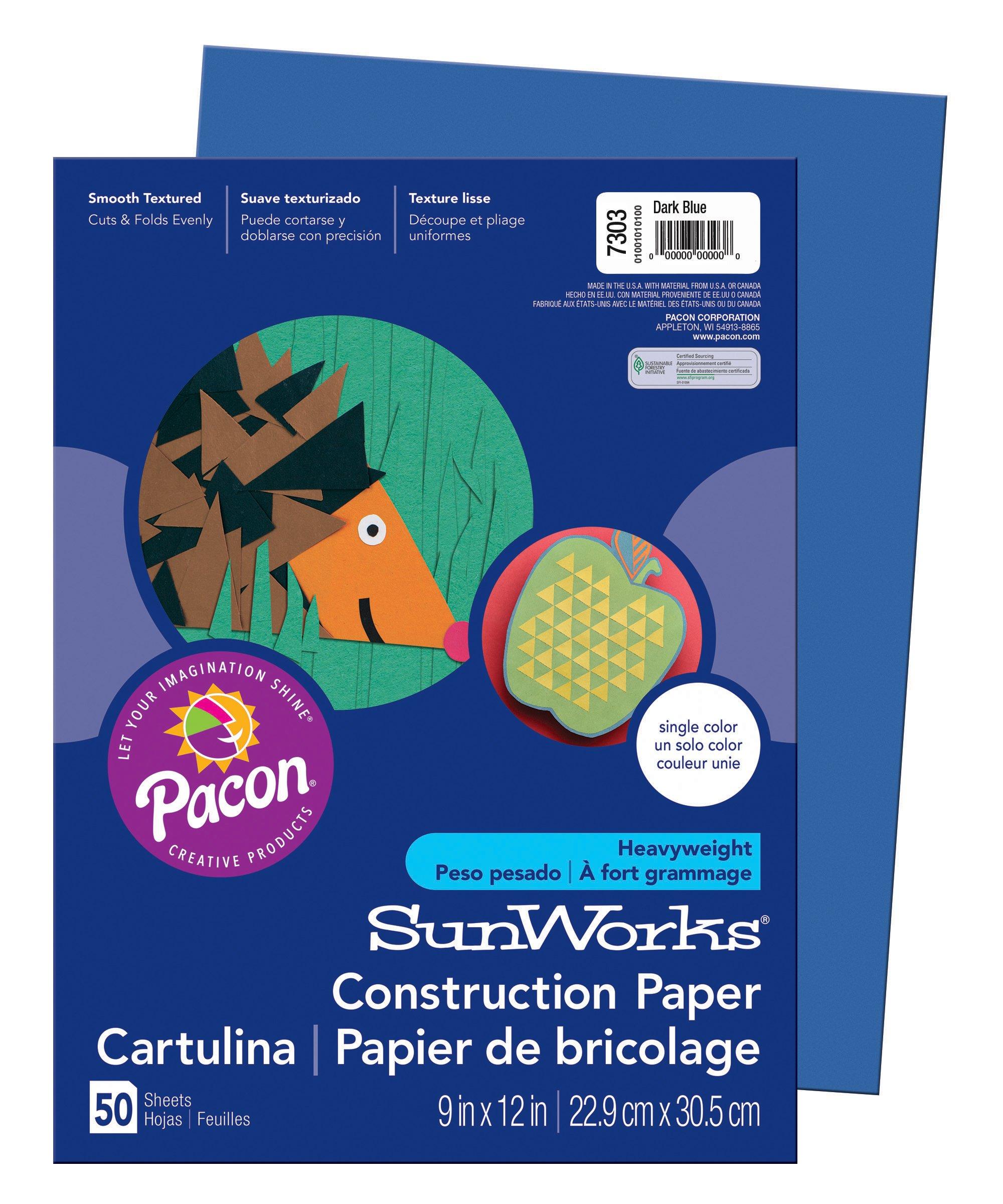 SunWorks Construction Paper, Dark Blue,  9'' x 12'', 50 Sheets