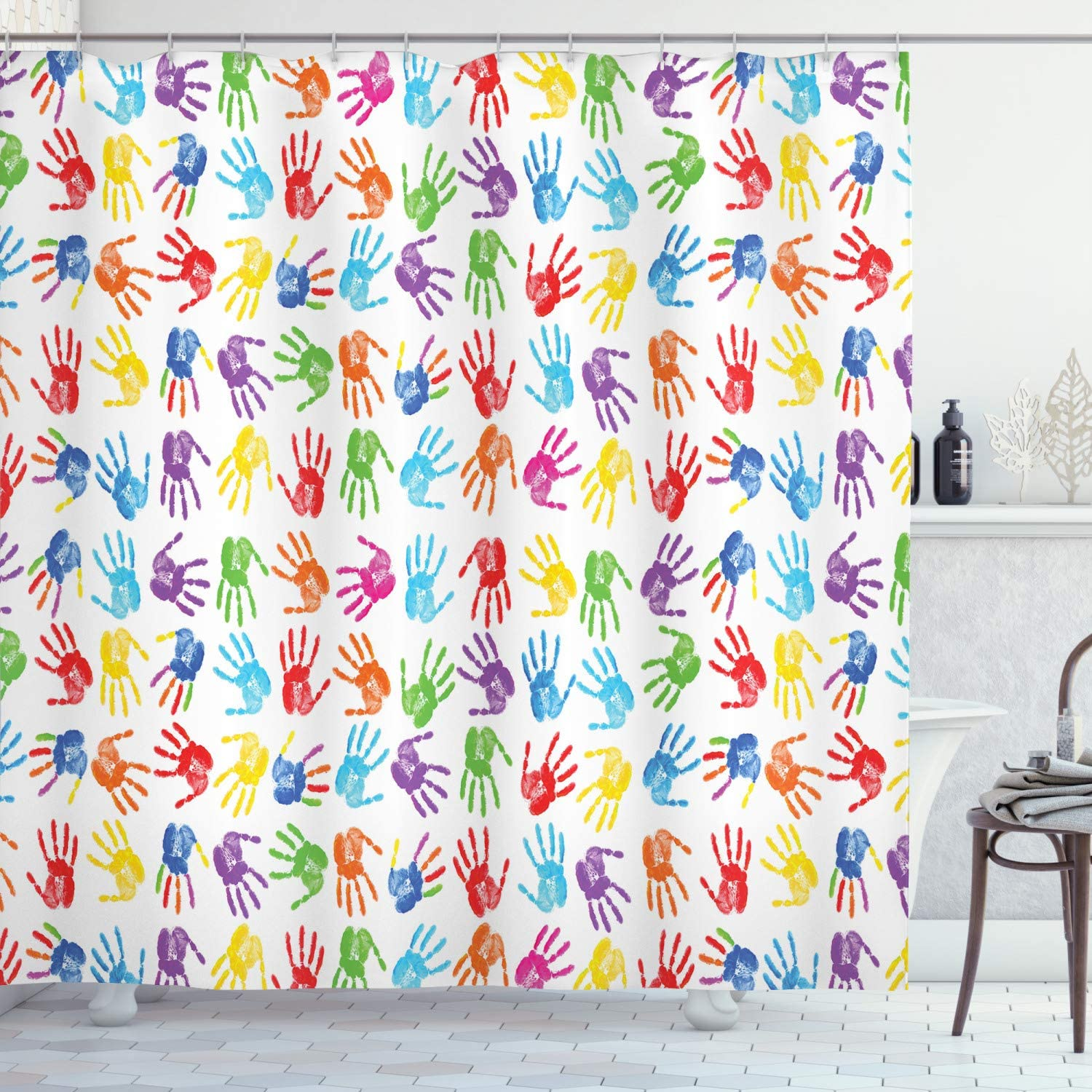"""Ambesonne Colorful Shower Curtain, Human Handprint Kids Watercolor Paint Effect Open Palms Collage Art Work Print, Cloth Fabric Bathroom Decor Set with Hooks, 70"""" Long, Multicolor"""