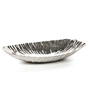 "Hosley's Silver Finish Decor Tray/Bowl - 13.6"" Long. Ideal for Wedding or Special Occasion; for Decorating with Orbs, Potpourri, Vase, Votive Candle Gardens, Aromatherapy O3"