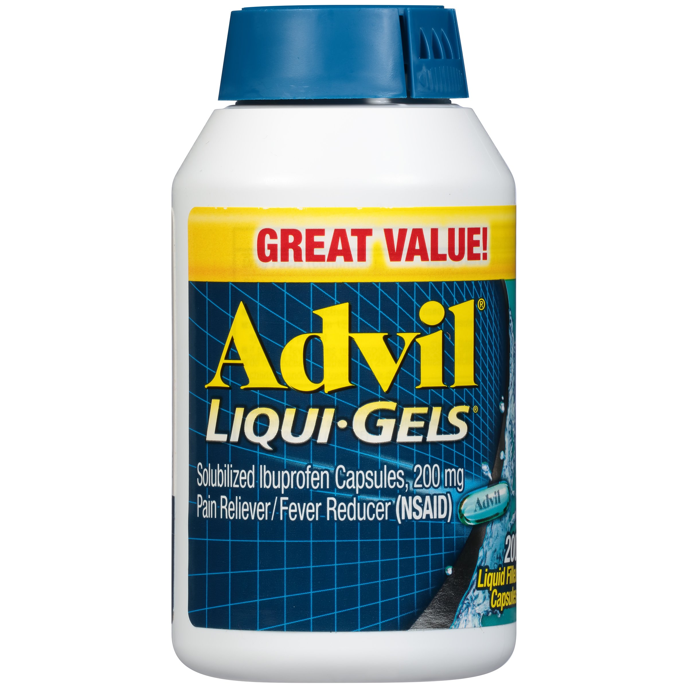 Advil Liqui-Gels (200 Count) Pain Reliever/Fever Reducer Liquid Filled Capsule, 200mg Ibuprofen, Temporary Pain Relief