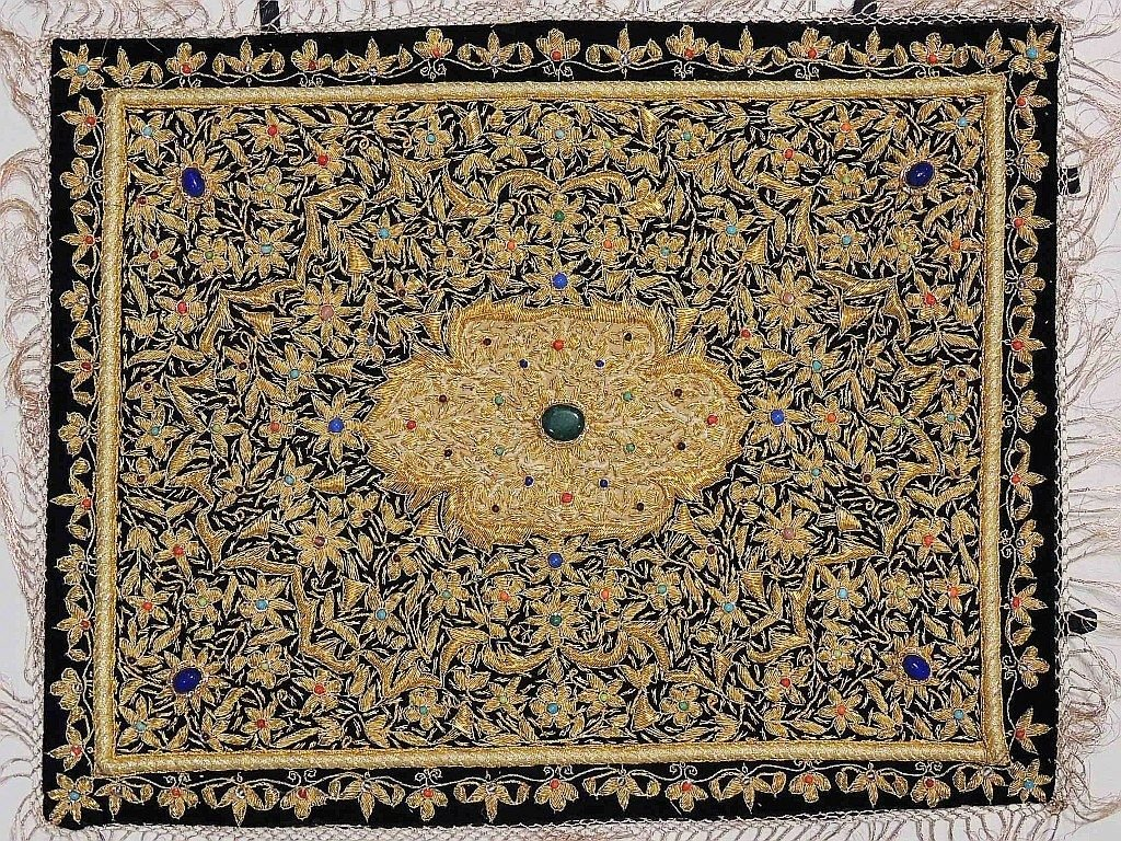 Jewel Carpet Wall Hanging – Royal Gold Zardozi Kashmiri Handicraft from India ~ 24 Inch x 18 Inch