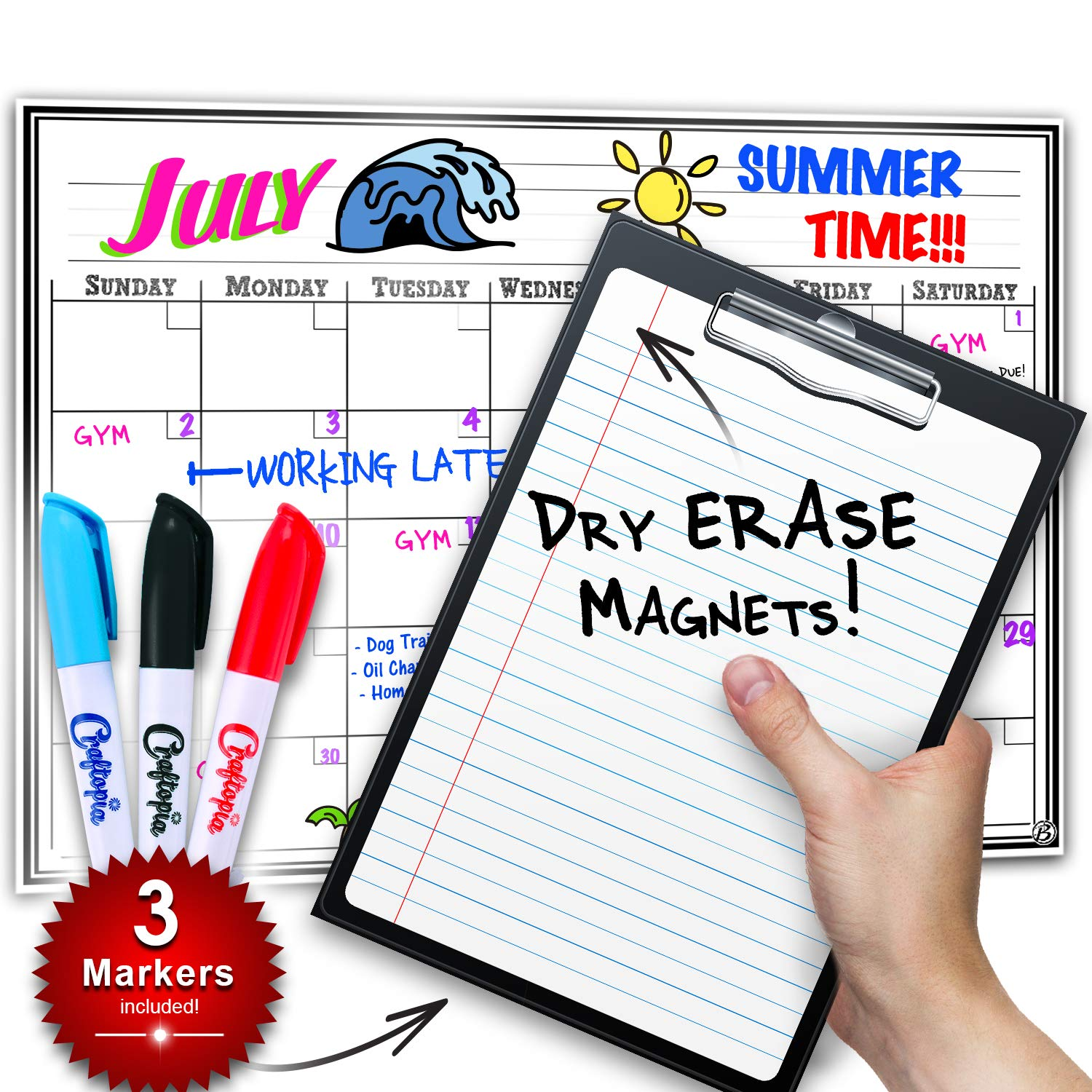 Scheduling Appointments Planner 12 x 16 Calendar Reminders Use for to do List Smart Planners Weekly Planner Magnetic Dry Erase Board for Kitchen Fridge