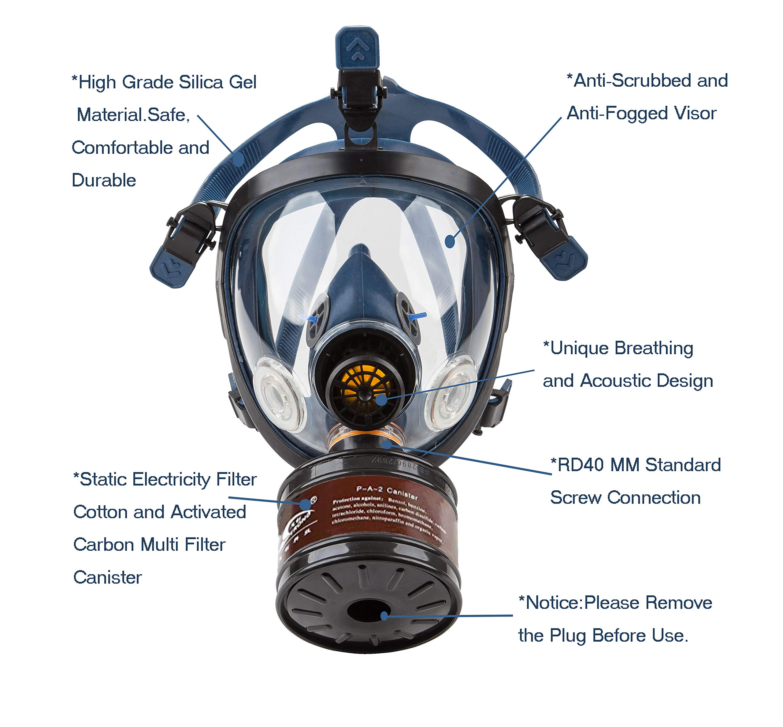 Induschoice Organic Vapor Full Face Respirator Mask Gas Mask Paint Pesticide Chemical Formaldehyde Anti Virus Respiratory Protection(Respirator +1 LDG3 Canister) by Induschoice (Image #6)