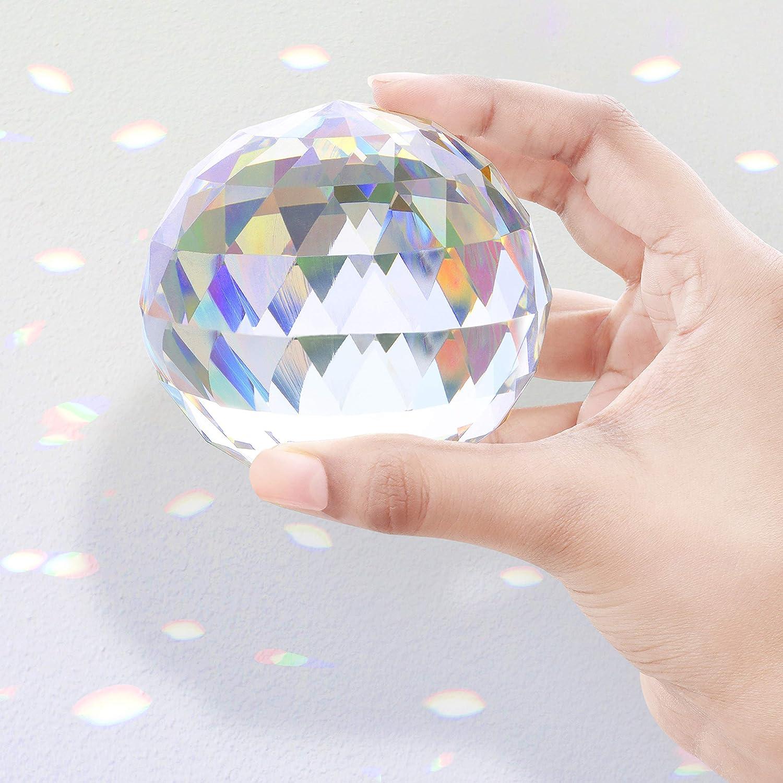 Esoterische Geschenke Prisma Kristall f/ür Mediation /& Heilung BELLE VOUS Kristallglas Kugel Feng Shui 8 cm Prisma Fotografie Sonnenf/änger mit Samttasche Mikrofasertuch /& Geschenke Schachtel
