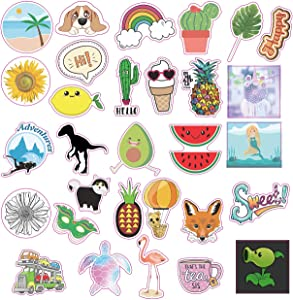 30 Pcs-Sunnyq Cute Stickers Pack Cool Ins Vinyl Sticker WaterBottle Stickers Waterproof Trendy Aesthetic Big Stickers for Teens and Girls 100% Vinyl Decal Laptop Stickers
