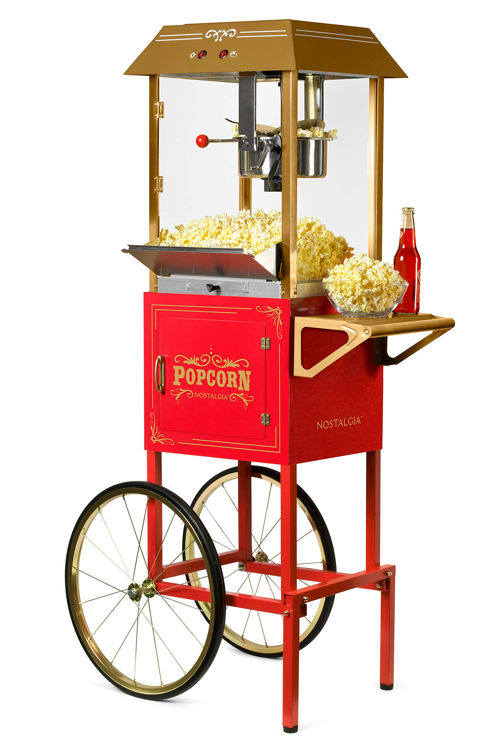 Nostalgia CCP1000RED Vintage 10-Ounce Professional Popcorn and Concession Cart, 59 Inches Tall, Makes 40 Cups, With Kernel Measuring Cup, Oil Measuring Spoon and Scoop, 19-Inch Wheels by NOSTALGIA