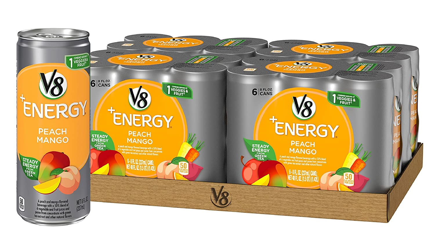 V8 Energy Review >> V8 Energy Juice Drink With Green Tea Peach Mango 8oz Can 4 Packs Of 6 Total Of 24