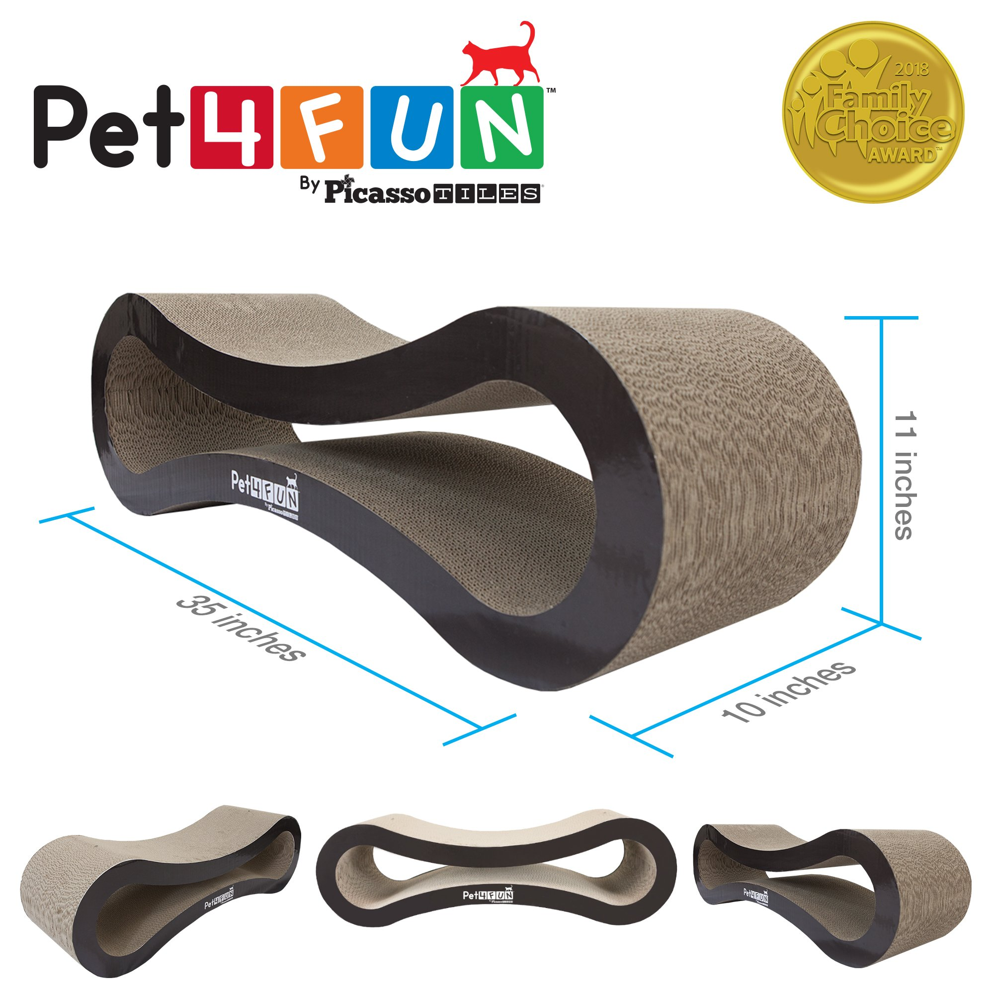 Pet4Fun® PF360 4 in1 Reversible Durable Stylish Cat Scratcher Lounge w/ large space and special teaser holder for scratching, playing, resting, and napping. Teaser, Comb, & Catnip Included by Picasso Tiles by PicassoTiles (Image #4)