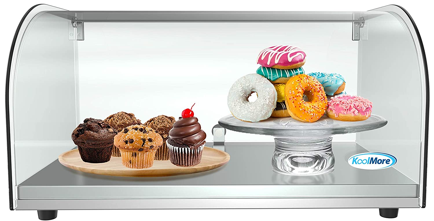 "KoolMore 22"" Countertop Bakery Display Case with Front Curved Glass and Rear Door"