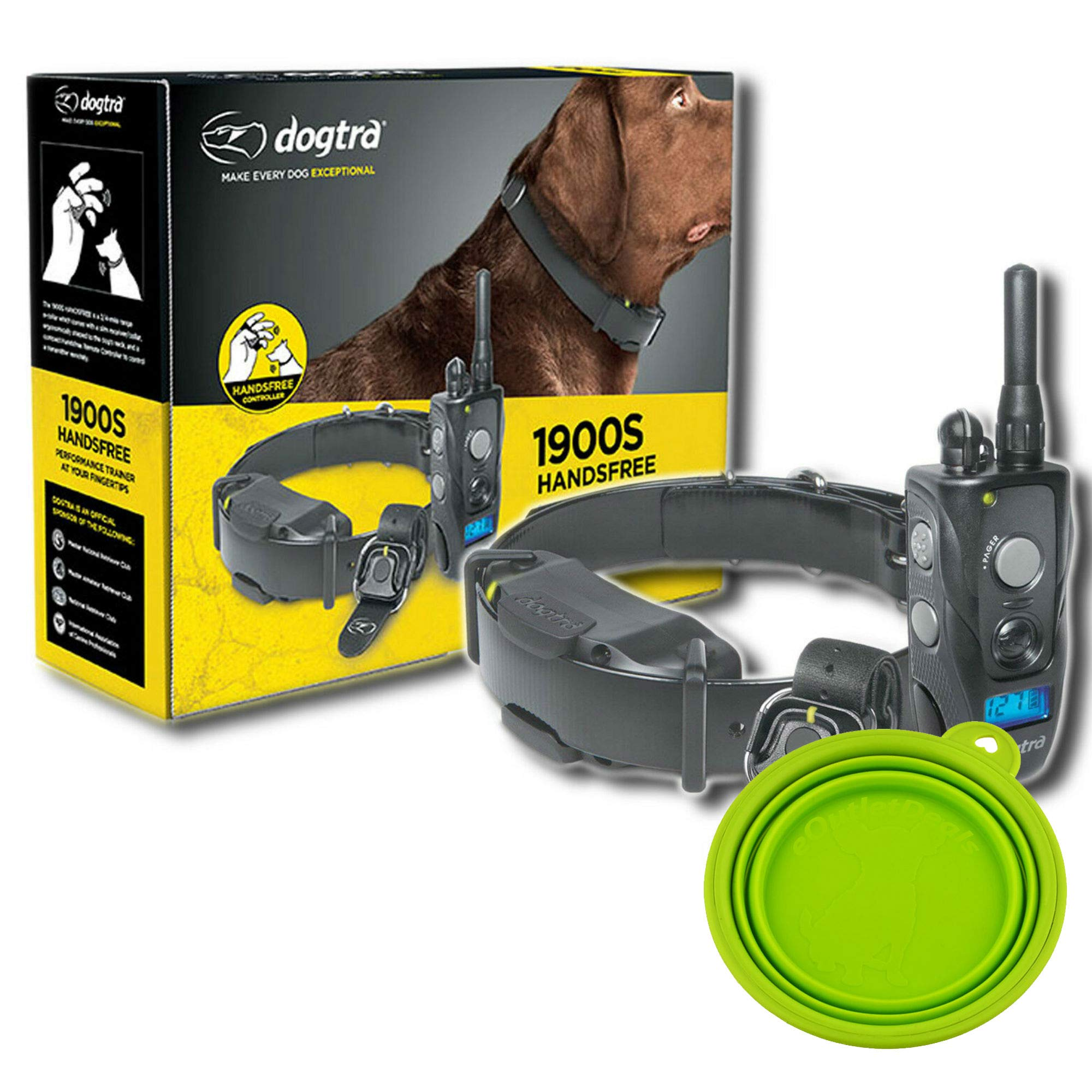 Dogtra 1900S HANDSFREE E-Collar Training For Dogs - 3/4 Mile Remote Trainer with LCD Screen - Remote Controller - Fully Waterproof Collar - Bonus eOutletDeals Travel Bowl