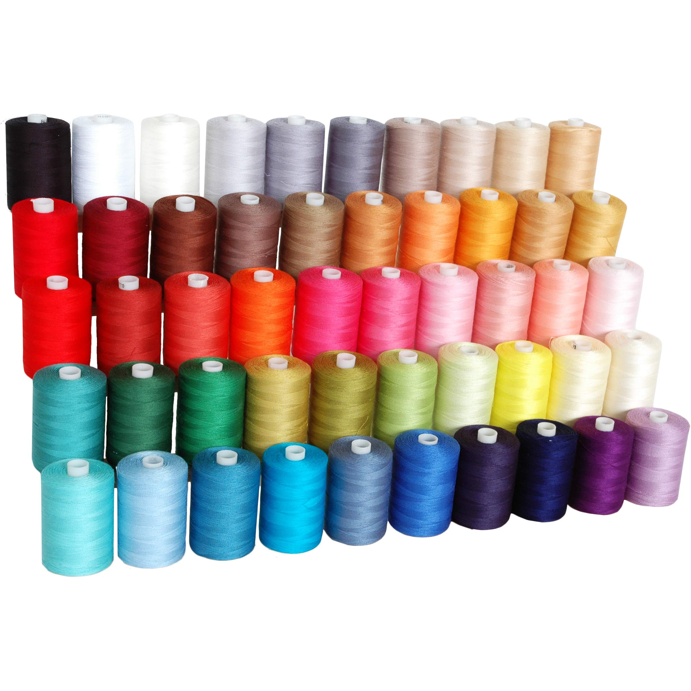 Threadart 100% Cotton Thread Set | 50 Colors | 1000M (1100 Yards) Spools | For Quilting & Sewing 50/3 Weight | Long Staple & Low Lint | Over 20 Other Sets Available by Threadart