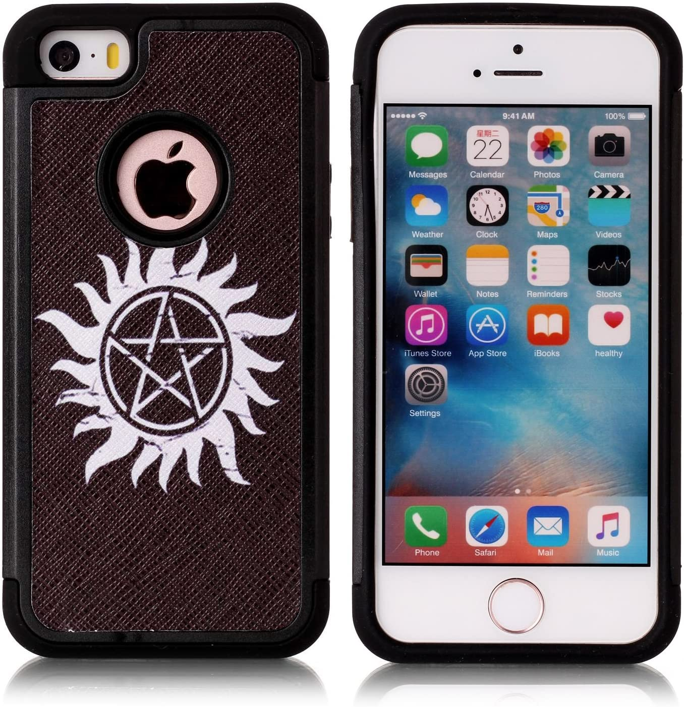 iPhone 5S Case, iPhone SE Case, Supernatural Pentagram Black Pattern Shock-Absorption Hard PC and Inner Silicone Hybrid Dual Layer Armor Defender Protective Case Cover for Apple iPhone 5/5S iPhone SE