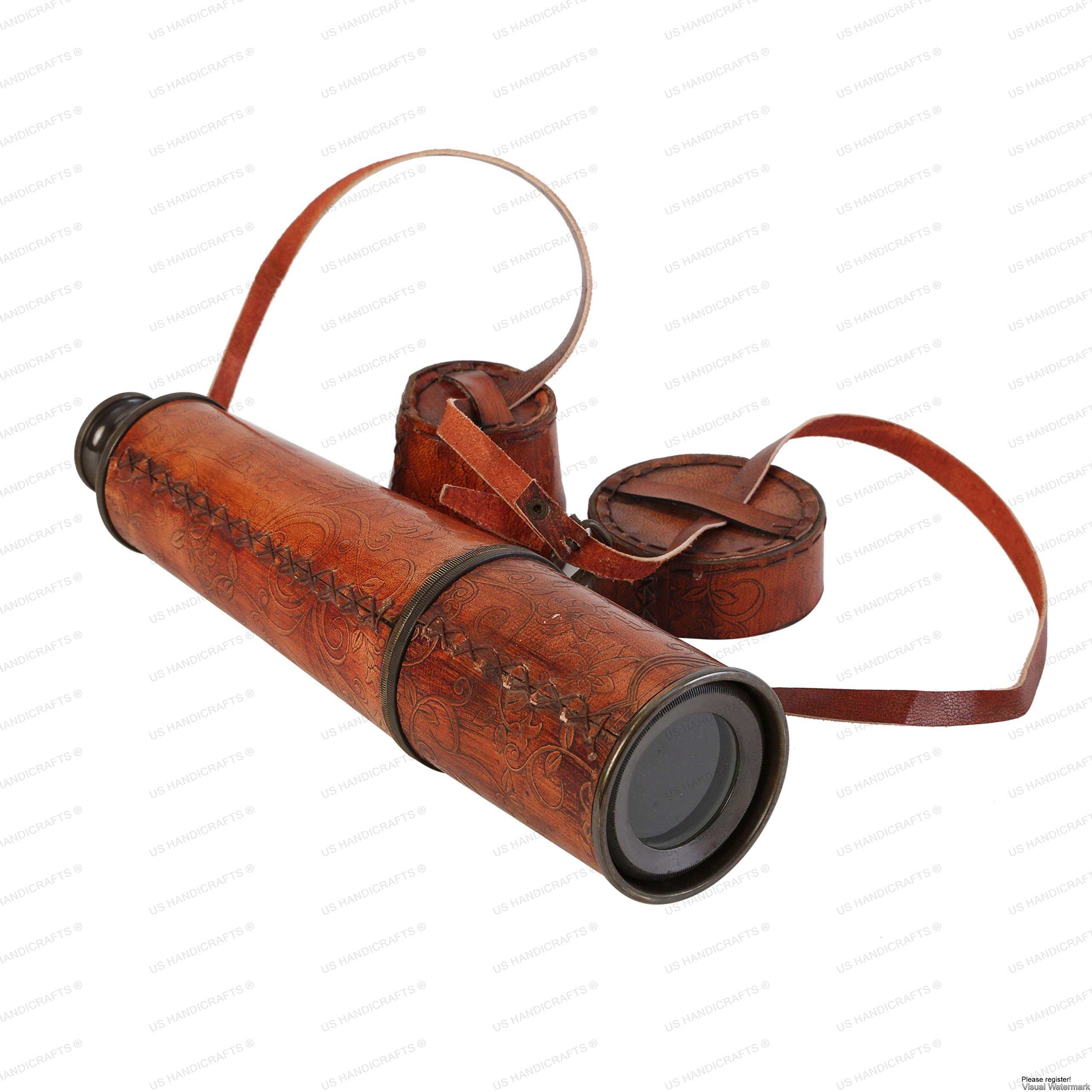 32'' Ship Captain Brass Handmade Telescope with Spy Glass & Leather Case. by US HANDICRAFTS