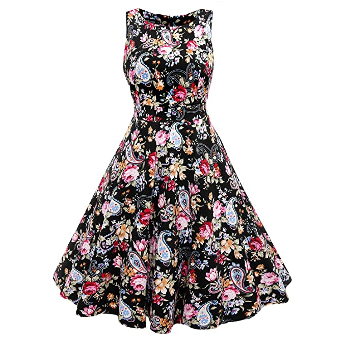 MuteLamb Womens Vintage Swing Floral Sleeveless Party Dress Prom Dresses