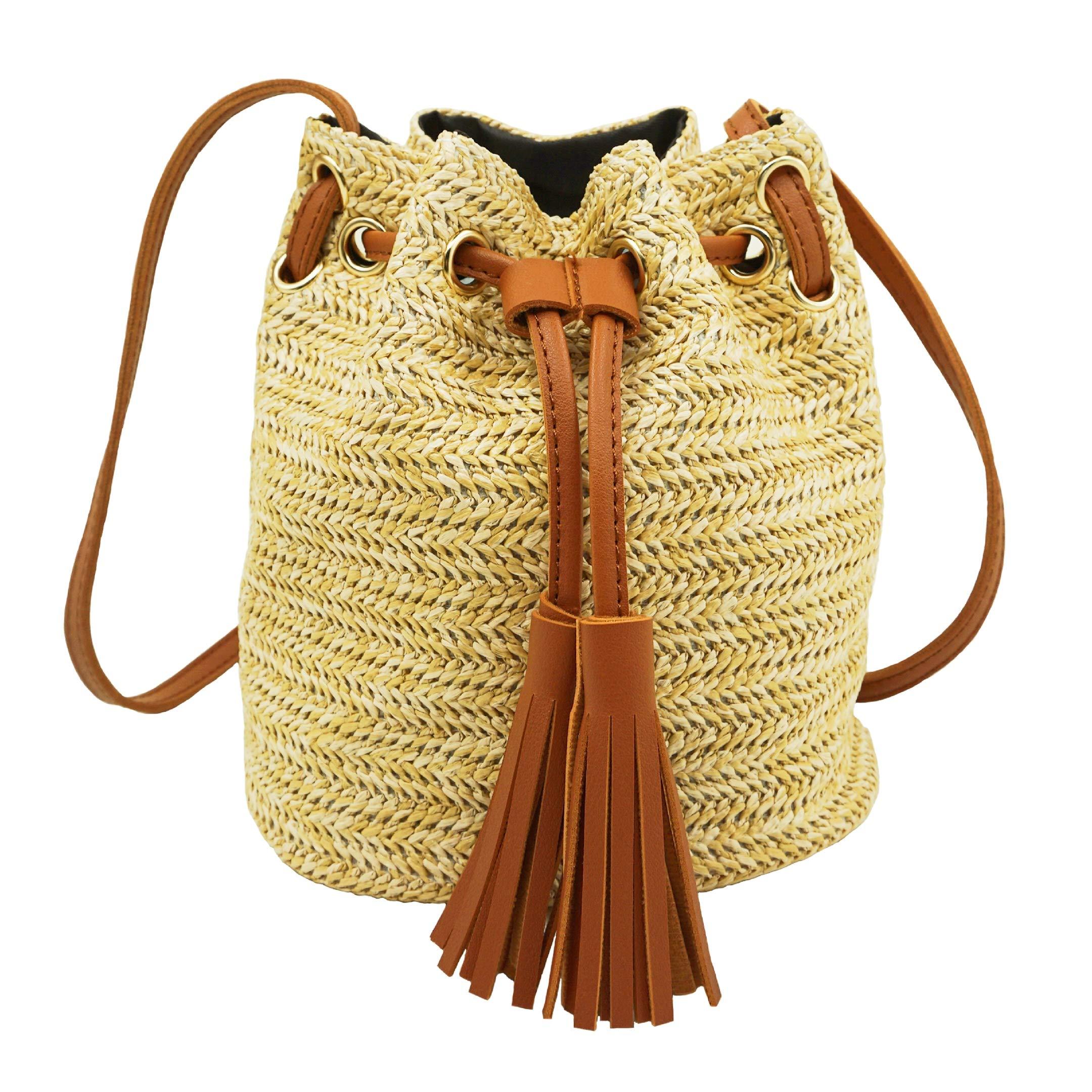 Straw Crossbody Bag, BCTEX Woven Bags Summer Crossbody Purses for Women Woven Beach Bag Straw Bags for Summer