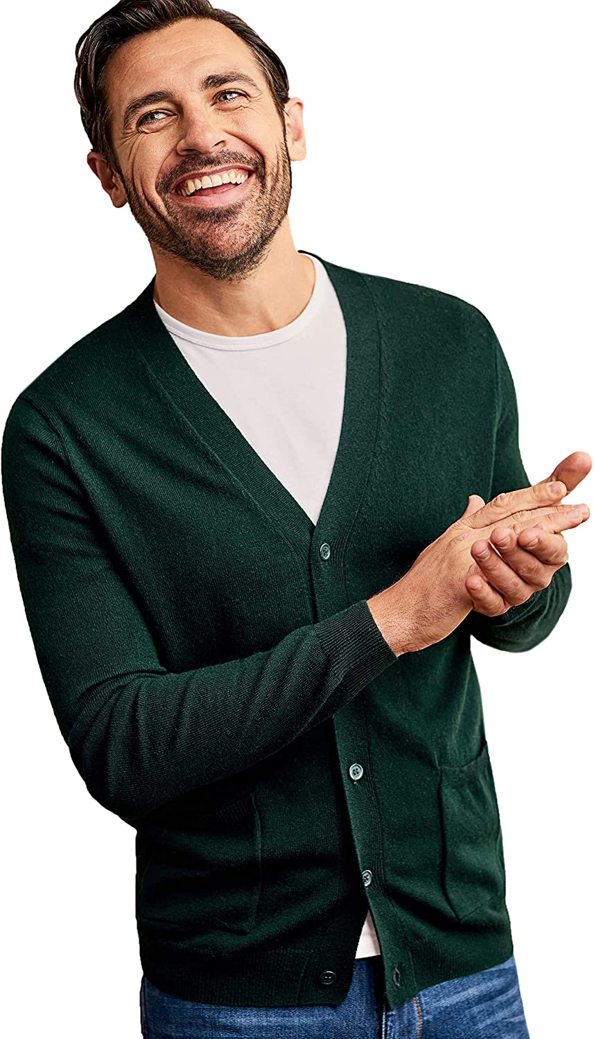 XL WoolOvers Mens Cashmere and Merino V Neck Knitted Cardigan Racing Green