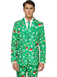 f6f5dac69f0 OFFSTREAM Ugly Christmas Suits for Men in Different Prints – Xmas Sweater  Costumes Include Jacket Pants