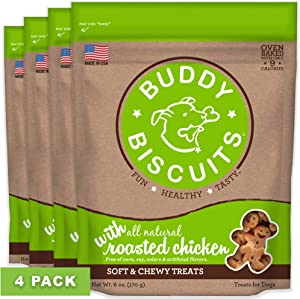 Buddy Biscuits, Soft & Chewy Treats for Small & Large Dogs, Made in USA Only, Training or Snack Size