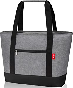 LHZK Jumbo Insulated Cooler Bag, Reusable Grocery Bag Transport Cold or Hot Food, Collapsible Insulated Tote Bag, Beach Bag, Travel Cooler or Picnic Cooler (Gray)