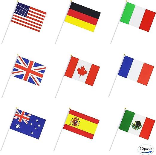 Pequeña bandera nacional País banderas diseño redondo: Amazon.es: Jardín