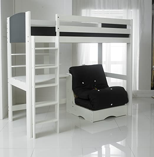 Cama alta (escalera recta) con cama negro futón, escritorio y 2 estantes. 91,44 cm en cama blanco/negro de Toshiba. Fabricado en el Reino Unido.: Amazon.es: Hogar