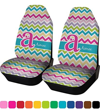 RNK Shops Colorful Chevron Car Seat Covers Set Of Two Personalized