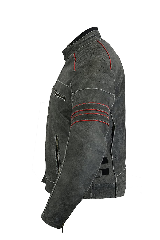 dise/ño de motocicleta alta protecci/ón LeatherTeknik JACKET DC-4088 Chaqueta de piel para hombre