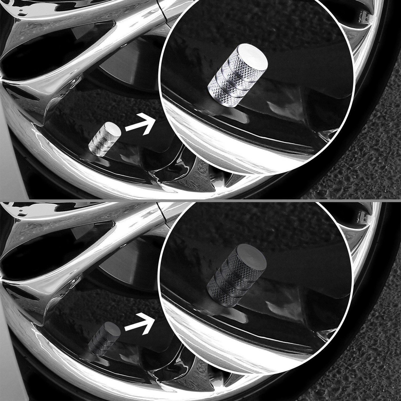 Schwarz und Silber Bememo 16 St/ück Reifen Ventilkappen Aluminium Auto Rad Staubdicht Cap
