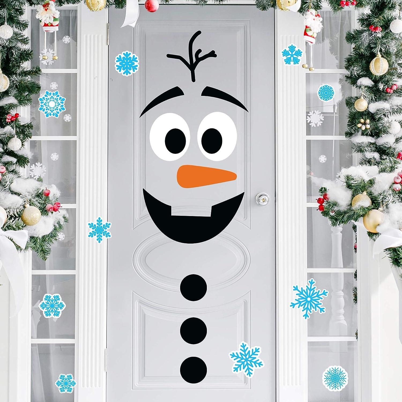 Joy Day Christmas Door Stickers Decor Christmas Snowman Door Stickers Christmas Large Snowman Stickers with Snowflake Decals for Xmas Refrigerator Door Wall Window Decor (Snowboy-II)