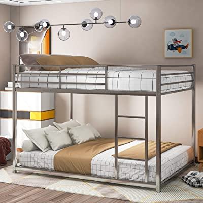 Buy Full Over Full Metal Bunk Bed Low Bunk Bed With Ladder For Kids Toddlers Teens No Box Spring Needed Silver Online In Turkey B08tqfhcqq
