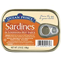 Ocean Prince Sardines in Louisiana Hot Sauce, 3.75 Ounce Cans (Pack of 12)
