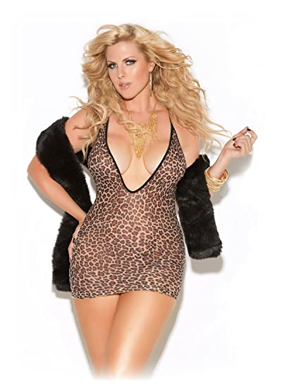 82c5e2df3c Image Unavailable. Image not available for. Color  Sexy Women s Plus Size  Low Cut Deep V Animal Print Clubwear Mini Dress