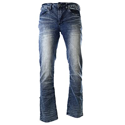 Buffalo David Bitton Men's Evan Super Slim Straight Leg Jean in Ventura, Contrasted and Sanded, 38x32 at Men's Clothing store